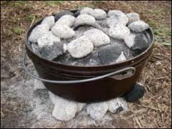 Dutch oven cooking with charcoal briquettes