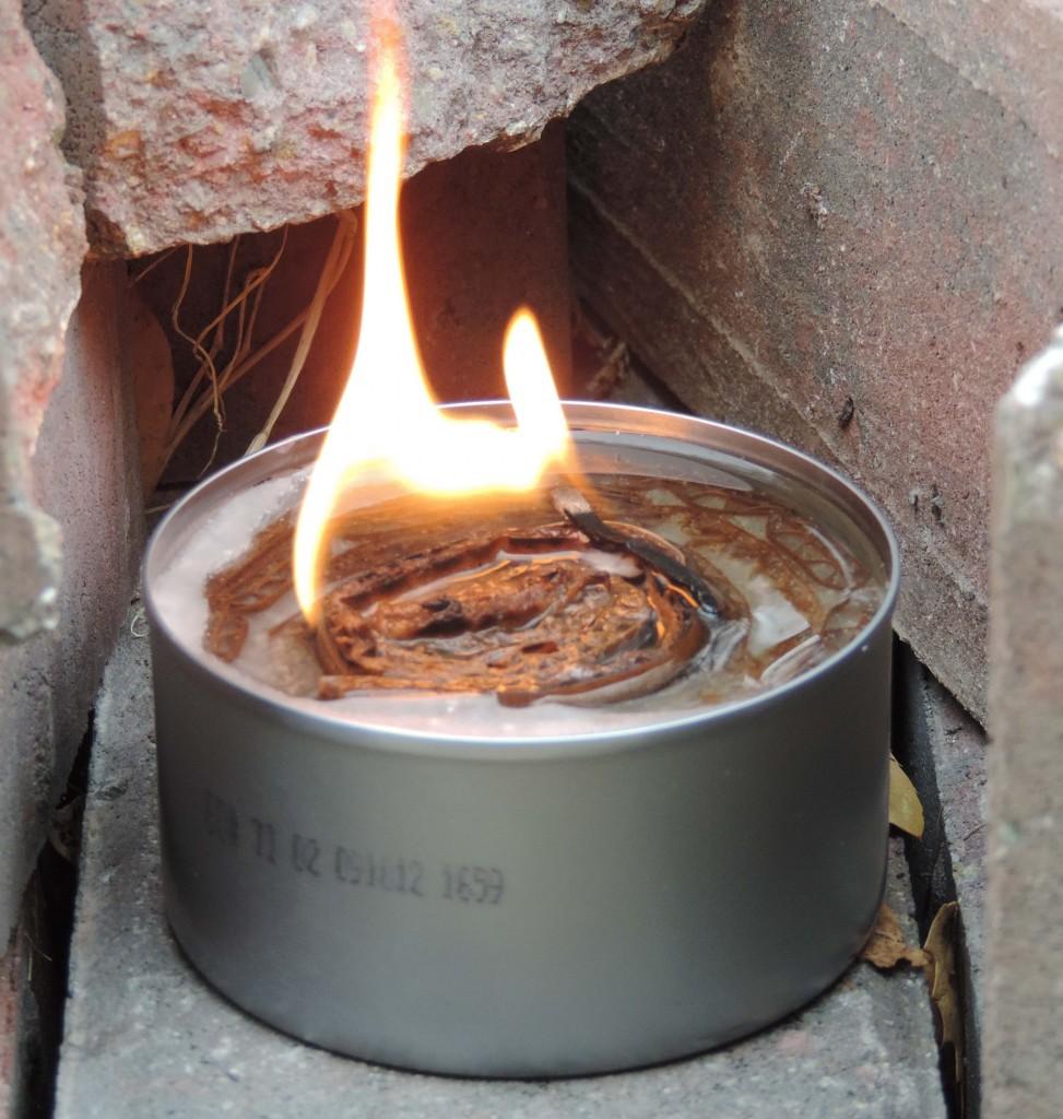 cardboard and wax stove