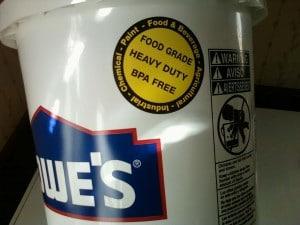 food grade buckets, 5-gallon