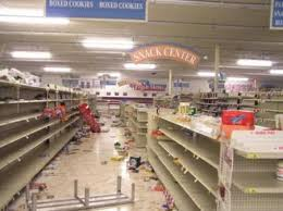 Grocery Store Shelves Stripped Bare