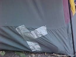 Repairing hole in a tent