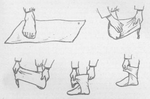 The Russian method of making footwraps