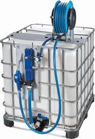 An IBC tote with a pump on it.  This can be used in a vehicle or in a fixed location
